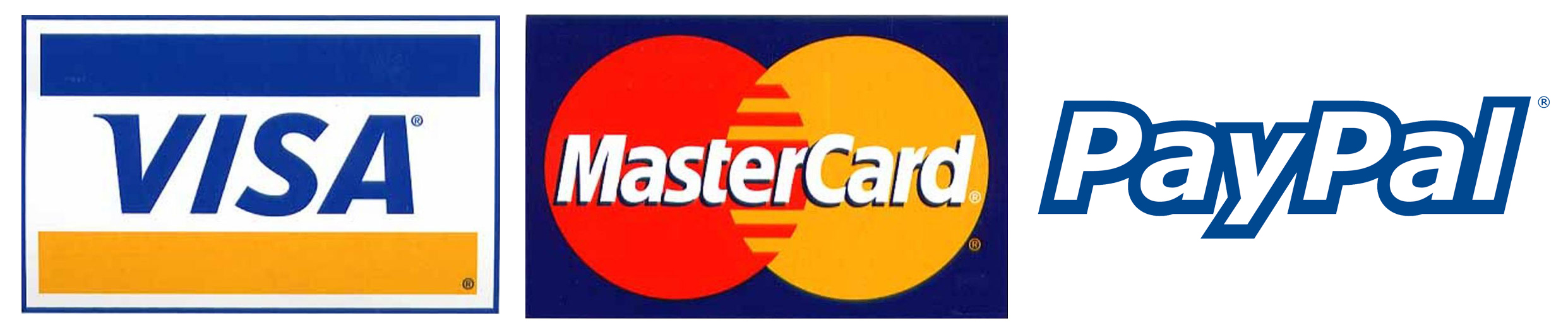 Visa Mastercard and Paypal